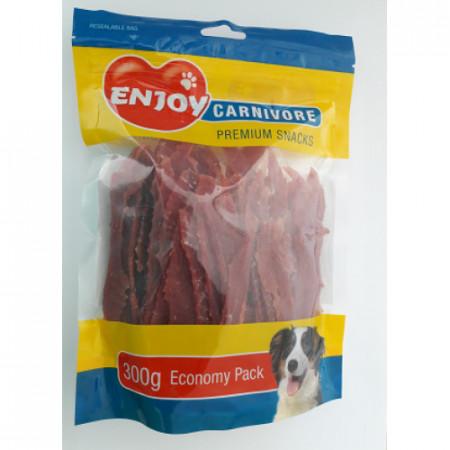 Recompense pentru caini Enjoy Carnivore cu rata 300 g