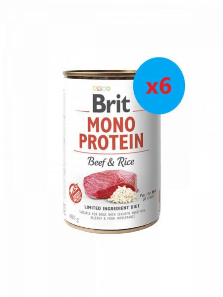 Brit Mono Protein Vită si Orez 6 x 400 gr