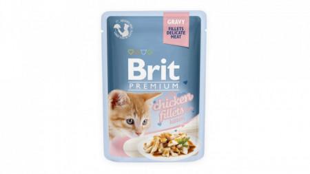 Brit Premium Cat cu fileuri de pui in sos pentru pisicute 85g