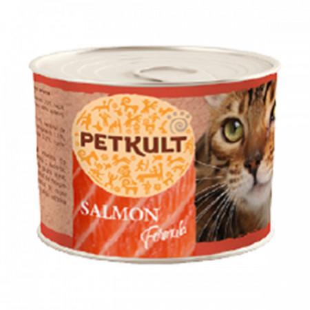 Hrana umeda pentru pisici Petkult cu somon 185 g