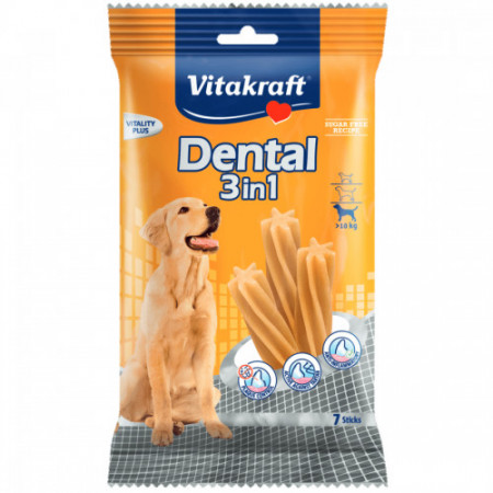 Recompensa pentru caini Vitakraft Dental Snack 3 in1 Medium 180 g