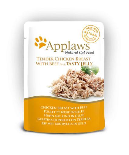 Applaws CAT hrană umedă cu piept de pui și vită în aspic