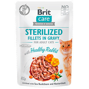 BRIT CARE CAT FILLETS IN GRAVY STERILIZED