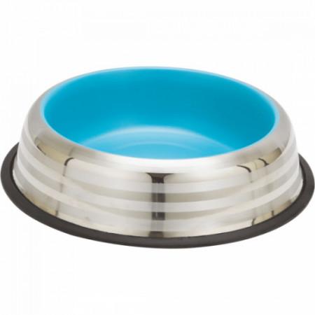Castron inox pisici Enjoy Blue & Silver Stripes 230 ml