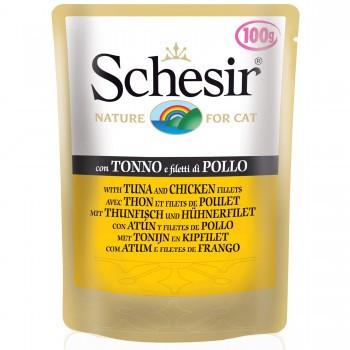 Hrana umeda pisici Schesir cu pui si ton