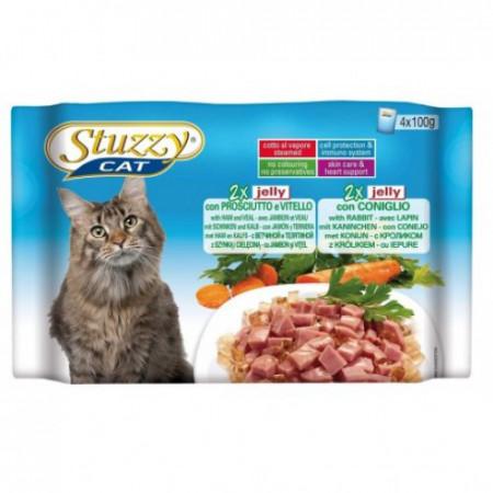 Hrana umeda pisici Stuzzy Sterilised cu vitel si iepure set 4 plicuri X 100 g