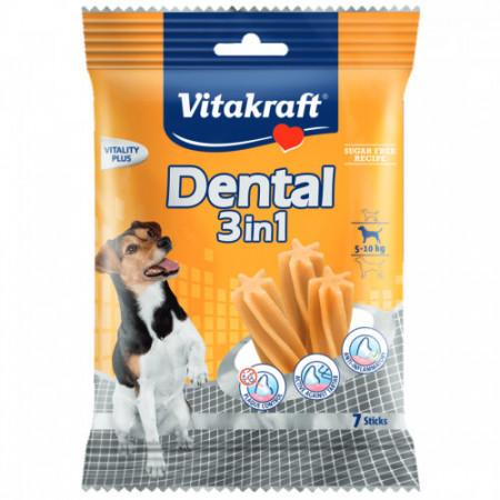 Recompensa pentru caini Vitakraft Dental Snack 3 in1 Small 120 g