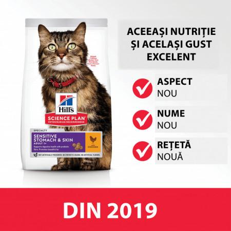 Hill's SP Feline Adult Sensitive Stomach & Skin cu pui