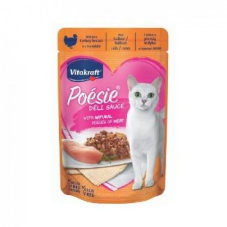 Hrana umeda pentru pisici Vitakraft Poesie Plic Piept Curcan in sos 85 g
