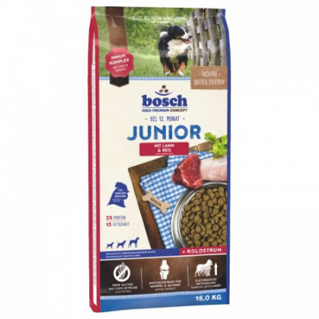 Hrana uscata pentru caini Bosch Junior cu miel si orez 15 kg