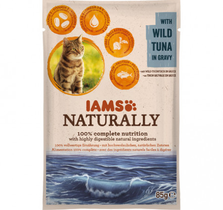 Hrana umeda pisici IAMS Naturally Adult Cat cu Ton