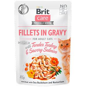 BRIT CARE CAT FILLETS IN GRAVY CU SOMON SI CURCAN
