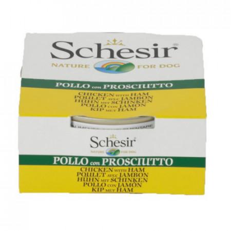 Hrana umeda pentru caini Schesir cu pui si jambon 150 g