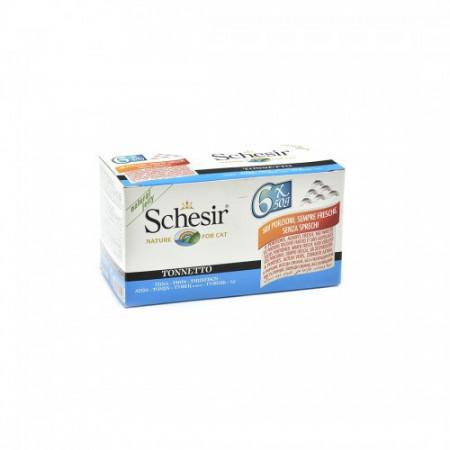 Hrana umeda pisici Schesir cu ton set 6 conserve
