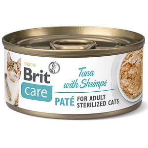 Brit Care Cat STERILIZED. TUNA PATÉ WITH SHRIMPS