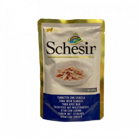 Hrana umeda pentru pisici Schesir cu ton si biban 85 g