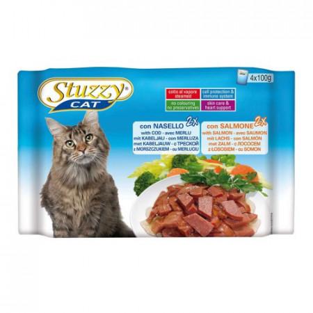 Hrana umeda pentru pisici Stuzzy cu cod si somon set 4 plicuri X 100 g