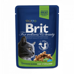 Brit Premium Sterilised Cat cu Pui 100 gr (pliculeț)