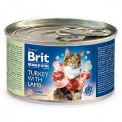 Conservă Brit Premium by Nature Cat Curcan și Miel 200 gr