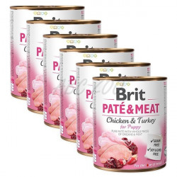 Pachet Economic Brit Pate and Meat Puppy curcan 6 x 800 gr