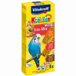 Batoane pentru perusi Vitakraft Kracker Trio Miere/Portocala/Popcorn 80 g