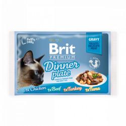 Brit Premium Cat Delicate Dinner Plate Multipack cu fileuri în sos (pliculețe) 4x85 gr
