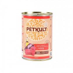 Hrana umeda pentru caini Petkult Adult cu vita 400 g