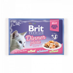 Brit Premium Cat Delicate Dinner Plate Multipack Fileuri în aspic (pliculețe) 4x85 gr