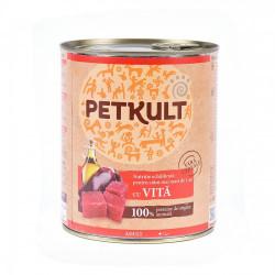 Hrana umeda pentru caini Petkult Adult cu vita 800 g