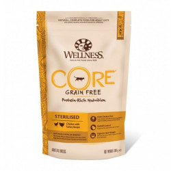 Hrana uscata pentru pisici Wellness Core Sterilised cu pui si curcan 300 g