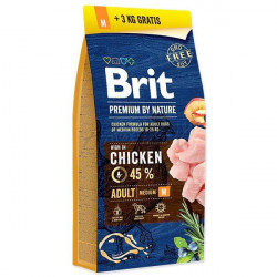 Brit Premium by Nature Adult M cu pui 15 Kg + 3 kg gratis