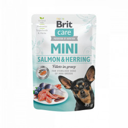 Brit Care Mini Sterilised Dog Fileuri de Somon și Hering în Sos 85 gr
