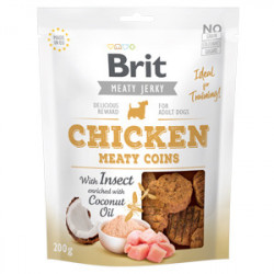 Brit Dog Jerky Chicken Meaty Coins cu Insecte 200 gr