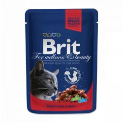 Brit Premium Cat cu Vită și Mazăre 100 gr (pliculeț)