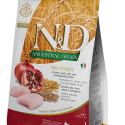 N&D Ancestral Grain Neutered Cat Pui si Rodie 1.5 kg