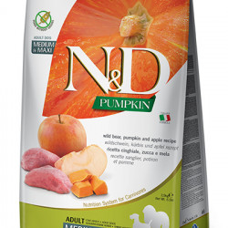 N&D Grain Free Dog Medium and Large Pumpkin cu Mistreț și Măr 12 kg