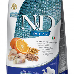 N&D Ocean Dog Medium Maxi Cod și Portocală 12 kg