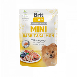 Brit Care Mini Dog Fileuri de Iepure si Somon în Sos 85 gr