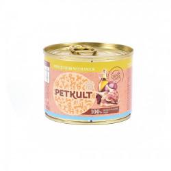 Hrana umeda pentru caini Petkult Mini Junior cu rata 185 g