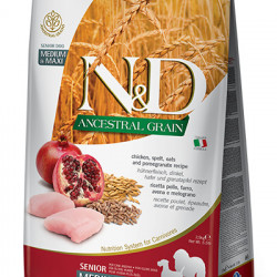 N&D Low Grain Medium & Maxi Senior Dog Pui și Rodie 12 kg