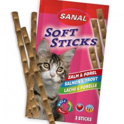 Recompense pisici Sanal Soft Stiks Somon si Pastrav 3 x 15 g