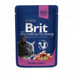 Brit Premium Cat cu Somon și Păstrăv 100 gr (pliculeț)