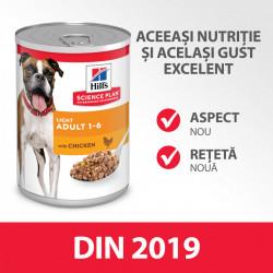 HILL'S SCIENCE PLAN ADULT LIGHT hrană pentru câini 370 g (conservă)