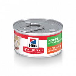 Hill's SP Feline Kitten Mousse Pui și Curcan 82 g (conservă)