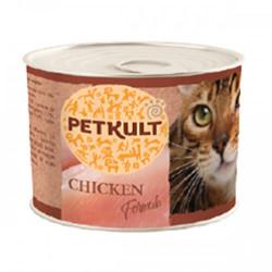 Hrana umeda pentru pisici Petkult cu pui 185 g