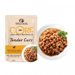 Hrana umeda pentru pisici Wellness Core Tender Cuts cu pui si ficat de pui in sos 85 g