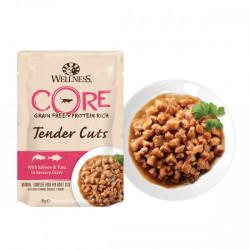 Hrana umeda pentru pisici Wellness Core Tender Cuts cu somon si ton in sos 85 g