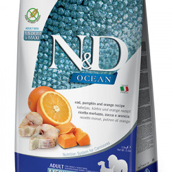 N&D Ocean Dog Medium & Maxi Cod, Dovleac și Portocală 12 kg
