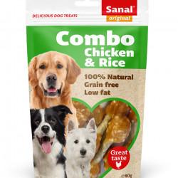 Recompense caini Sanal Dog Combo Pui si Orez 80 g