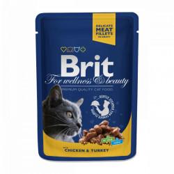 Brit Premium Cat cu Pui și Curcan 100 gr (pliculeț)